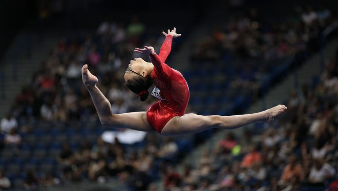 Gymnast Morgan Hurd competes earlier this month in Hartford, Connecticut.