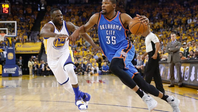 Thunder free agent Kevin Durant announced that he will sign a reportedly two-year, $54 million contract with the Golden State Warriors.