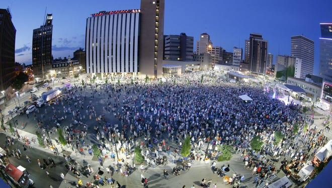 Trombone Shorty drew a huge crowd at the stage set up over Parcel 5 in downtown Rochester on July 2, 2016.