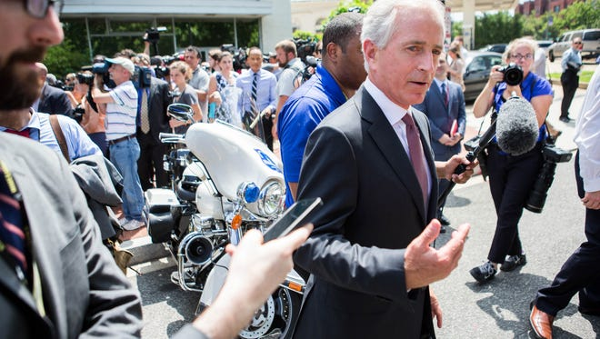 Sen. Bob Corker, R-Tenn., speaks to reporters following a meeting with Donald Trump at the Republican National Senatorial Committee on July 7, 2016, in Washington.