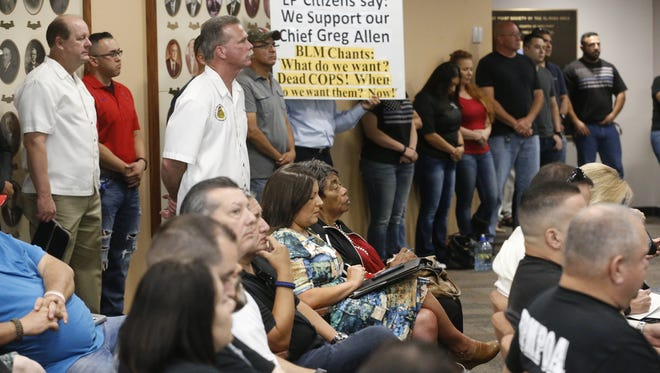 Tuesday's City Council meeting was filled with supporters of El Paso Police Chief Greg Allen, who sparked controversy with his remarks about the Black Lives Matter movement.