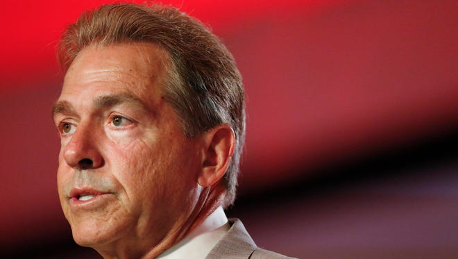 Alabama coach Nick Saban speaks to the media at the Southeastern Conference NCAA college football media days, Wednesday, July 13, 2016, in Hoover, Ala. (AP Photo/Brynn Anderson)