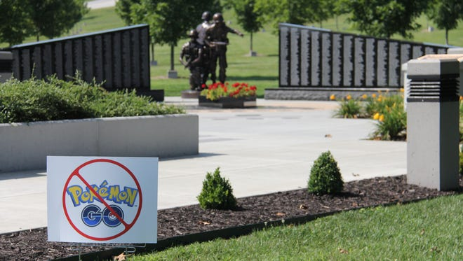 College of the Ozarks posted a sign to stop students and others from playing Pokemon Go near campus memorials.