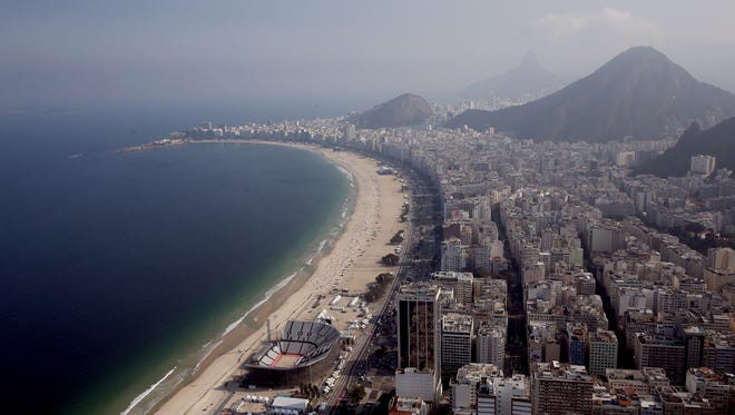 Work continues on the Olympic Beach Volleyball Arena in preparation for the 2016 Summer Olympic Games on July 25, 2016. in Rio de Janeiro, Brazil.