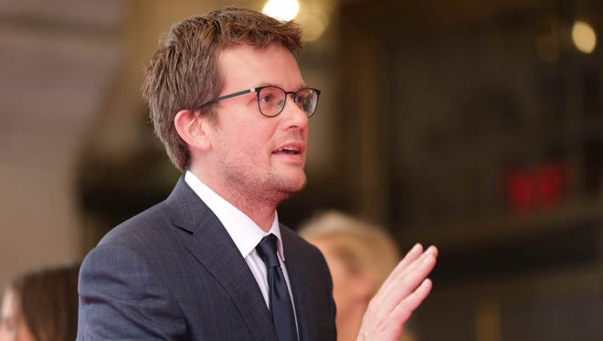 New York Times bestselling author  John Green walks the red carpet for the KeyBank 500 Festival Snakepit Ball, held at the Roof Ballroom in Indianapolis, Saturday May 28th, 2016. The annual event is a pre race Indy 500 tradition.