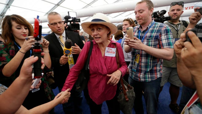 Susan Sarandon protests in the media tent during the 2016 Democratic National Convention.