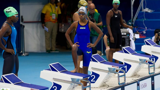 """Palau's Dirngulbai """"UB"""" Misech prepares for her 50-meter freestyle heat at the Rio de Janeiro Summer Olympic Games on Aug. 12."""