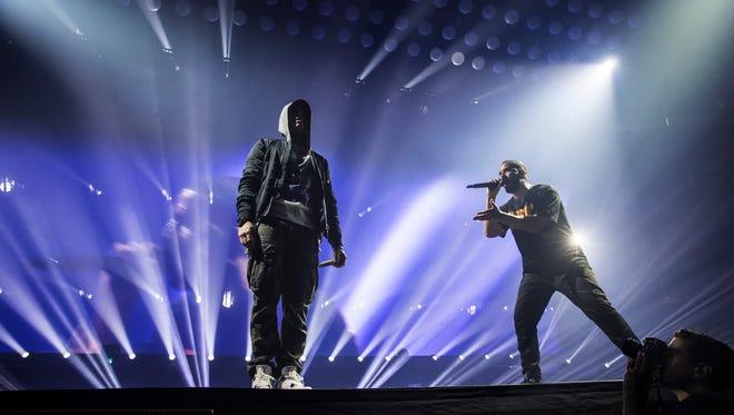 Eminem and Drake at Joe Louis Arena on Tuesday night