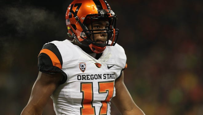 Oregon State Beavers safety Cyril Noland-Lewis (17) walks on to the field against the Oregon Ducks at Reser Stadium.