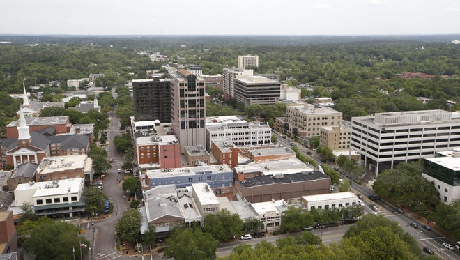 Downtown Tallahassee as seen from the Capitol building's 22nd floor Thursday, April 28, 2016.