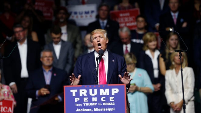 Republican presidential candidate Donald Trump speaks at a campaign rally in Jackson, Miss., Wednesday, Aug. 24, 2016.