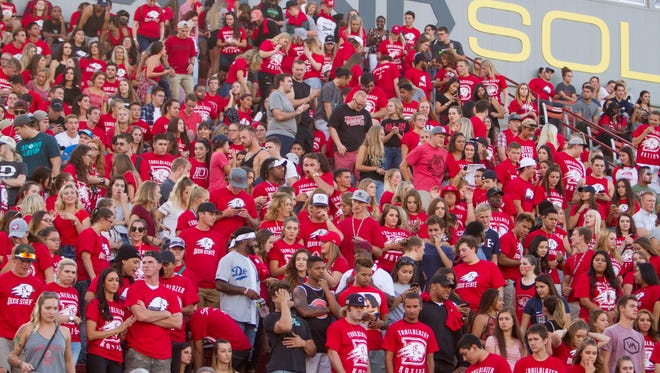 Dixie State football fans welcome the first game of the 2016 season at Legend Solar Stadium Thursday, Sept. 1, 2016.