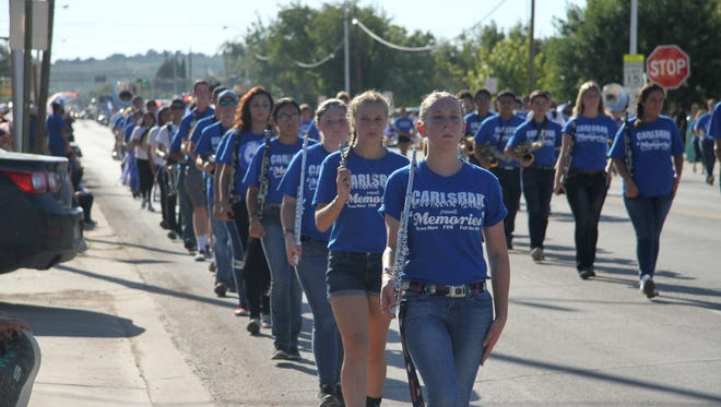 The 2016 homecoming parade started with the Carlsbad High School Marching Band.