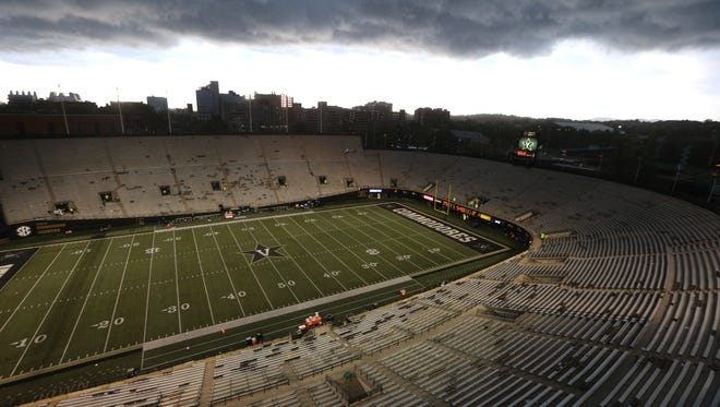 Vanderbilt Stadium is empty for the weather delay late in the first half of the game between Vanderbilt and MTSU on Sept. 10, 2016. Vanderbilt is the only SEC school that has not overhauled its football stadium in the past 15 years.