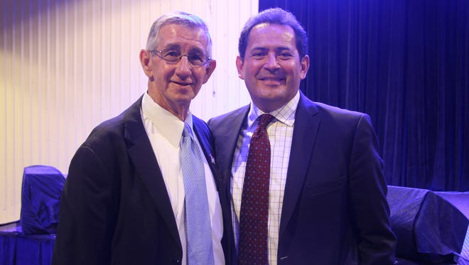 Carlsbad Mayor Dale Janway (left) with Lt. Gov. of New Mexico John Sanchez (right) Sept. 12 at the Mayor's Oil and Gas Summit.