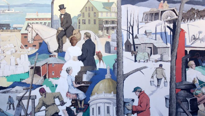 "This photo provided by National Life Group shows a section of a massive mural that has been donated to the Vermont Historical Society, where it will be preserved and protected. The mural called ""A Tribute to Vermont"" by Paul Sample has been hanging in the lobby of insurance company National Life Group's headquarters in Montpelier, Vt."