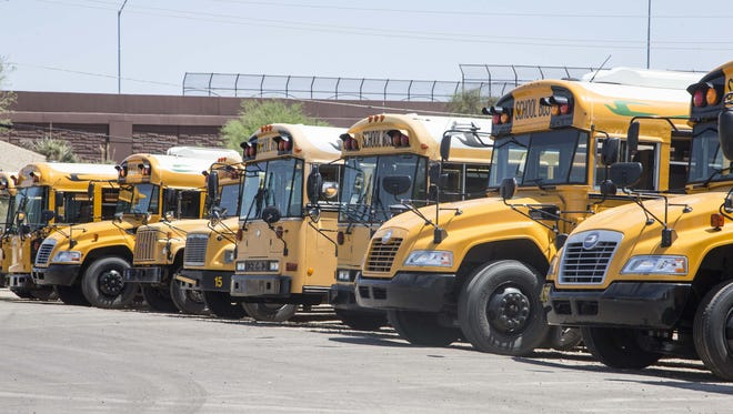 Canyon State Bus Sales sells, maintains and repairs school buses and specialized vehicles, such as hotel shuttle buses and prison buses. The company relocated to Glendale from Phoenix. Buses are lined up at the business on June 15, 2016, in Glendale, Ariz.