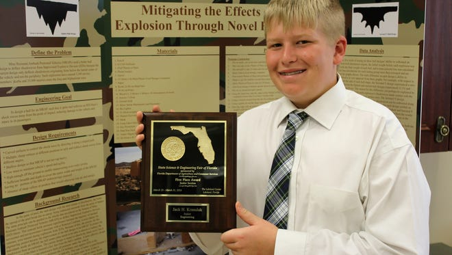 St. Andrew's Jack Krasulak has been named as a national semifinalist in the prestigious Broadcom MASTERS Science Competition.