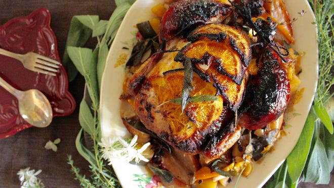 This recipe for Apple Cider and Citrus Roasted Chicken incorporates the flavors of fall, with sweet apples and acorn squash, and savory garlic and leeks.