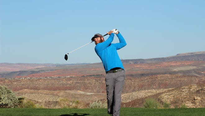 Former Dixie State golfer Dusty Fielding, a former Web.Com Tour member, has carded rounds of 68-67 and is tied for the lead at 9-under with this year's Utah Open champion, Zahkai Brown.
