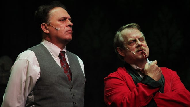 """Gary Wilson as Dr. Watson and Mike Lafferty as                   Sherlock Holmes in """"The Hound of the Baskervilles,"""" opening Sept. 30 at ShenanArts at the nTelos Theatre in Staunton."""