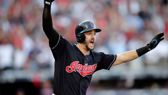 Cleveland Indians' Lonnie Chisenhall reacts after hitting a three-run home run against the Boston Red Sox in the second inning.