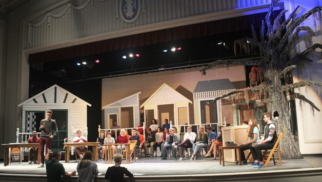 Students involved with City High's production of To Kill a Mockingbird rehearse on Oct. 11, 2016.