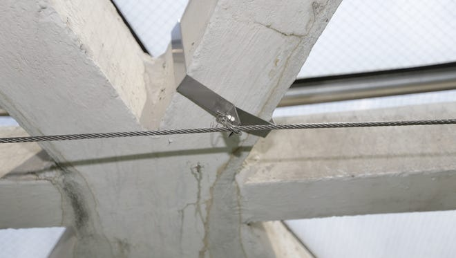 Concrete beams of support frame in Tropical Dome show damage from water leaks. Workers this summer attached wire mesh lining to brackets and steel wire. The mesh protects public from concrete falling off deteriorated concrete frame.