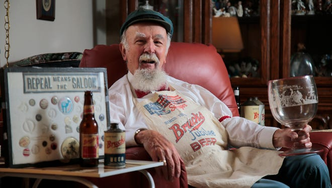 Jim Bruckmann, 83, pictured, Tuesday, Oct. 18, 2016, at his home in College Hill, is the great-grandson of Johan Caspar Bruckmann, the founder of Bruckmann Brewery, who is an inductee into this year's Beer Baron Hall of Fame.