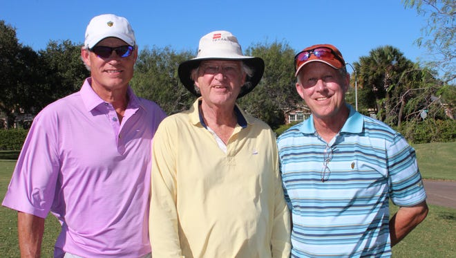Pat Rogers (from left), Rick Rogers and Ham Rogers attend the annual Richard King III Grand Classic Tournament. The Rogers brothers have been longtime supporters of Spohn, honor their late father, Dr. F.F. Rogers, each year by sponsoring the tournament's golf balls.