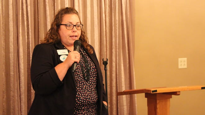 Jodie Perry, president of the Richland Area Chamber of Commerce, discusses communication techniques at the first Lunch WISE Wednesday event Wednesday, Oct. 19, 2016. The women's networking event was created by the Richland Area Chamber of Commerce, Mind Body Align and the Small Business Development Centers at North Central State College.