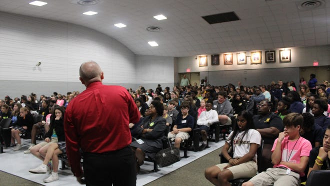 Students at Youree Drive Middle AP Magnet School in Shreveport learn about bullying, gun violence and suicide prevention.