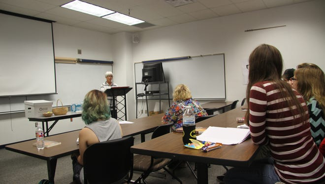 Carolyn Olson spoke to NMSU-C students about Westward Expansion in class on Wednesday.