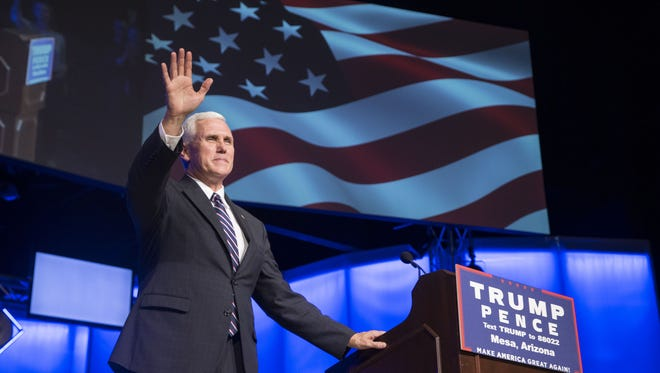 Indiana Gov. Mike Pence held a rally in Mesa, Arizona, on Sept. 22, 2016.