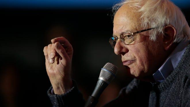 Vermont Sen. Bernie Sanders rallies for Democratic presidential candidate Hillary Clinton, Thursday, Nov. 3, 2016, at the University of Cincinnati in Cincinnati.
