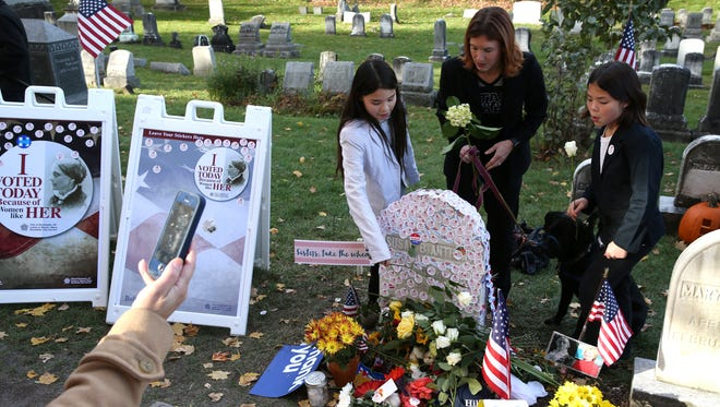 The Susan B. Anthony grave in Mt. Hope Cemetery drew huge crowds on Election Day 2016.