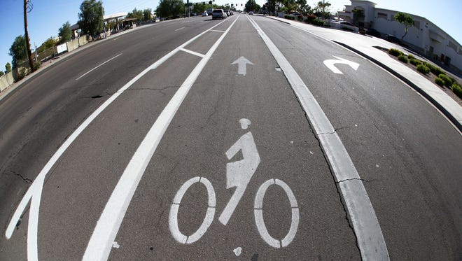 This bike lane replaced one lane of motor vehicle traffic on McClintock Drive at Broadway Road on Nov. 17, 2016, in Tempe. The city restriped portions of McClintock Drive to add bicycle lanes in July 2015.