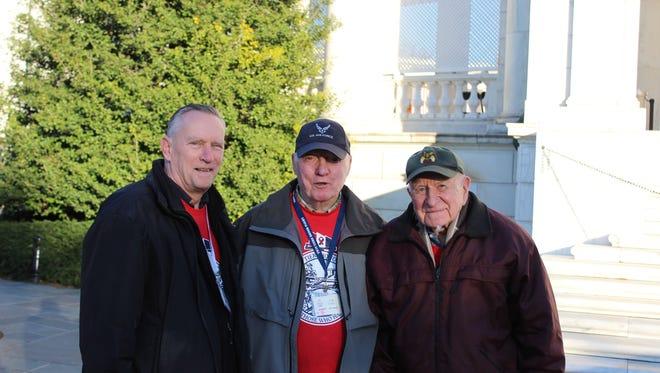 From left, Seaman Robert C. Gardner, Sgt. James E. DeWan and PFC Leslie H. Wilmarth in Washington, D.C.