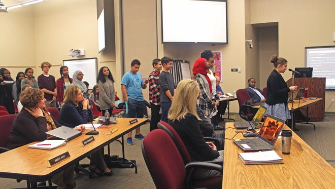 Roughly two dozen students addressed the Iowa City Community School Board during its meeting on Nov. 22, 2016, about their concerns regarding discrimination in schools.