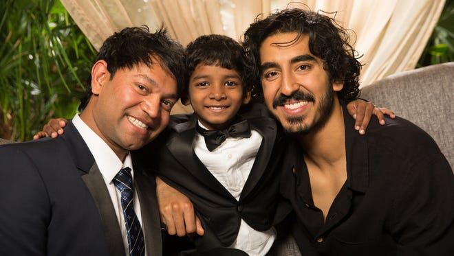 From left, the real Saroo Brierley, young Sunny Pawar (who plays him as a child) and Dev Patel (who plays the adult Saroo).