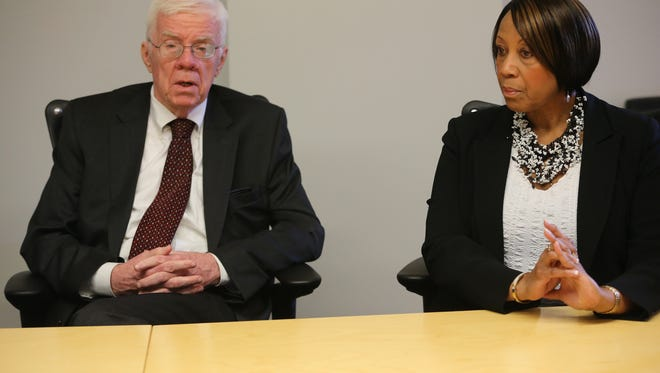 Assemblyman Thomas Giblin and Assemblywoman Sheila Oliver talk with The Record's editorial board in Woodland Park in October 2015.