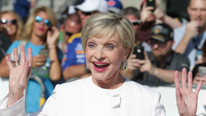 Grand Marshal for the 100th running of the Indianapolis 500, Florence Henderson walks the red carpet at the Indianapolis Motor Speedway, Sunday May 29th, 2016.