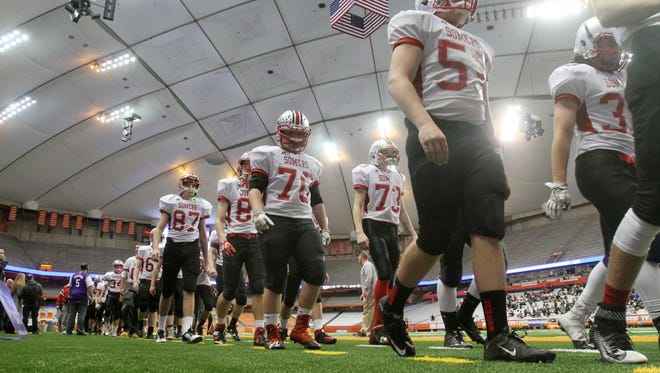 Somers defeated Greece Athena 25-17 to win the New York State Class A championship game at the Carrier Dome in Syracuse, N.Y. Nov. 25, 2016.