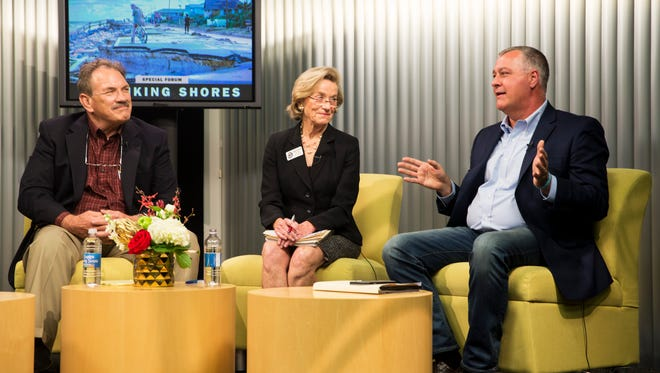 Panelists Gary McAlpin, from left, Linda Penniman, and Rep. Ben Albritton answer questions during a forum to discuss Florida's shrinking shores at the Naples Daily News studio on Wednesday, Nov. 30, 2016. More than 100 people attended the community forum to learn about issues with Florida's beaches.