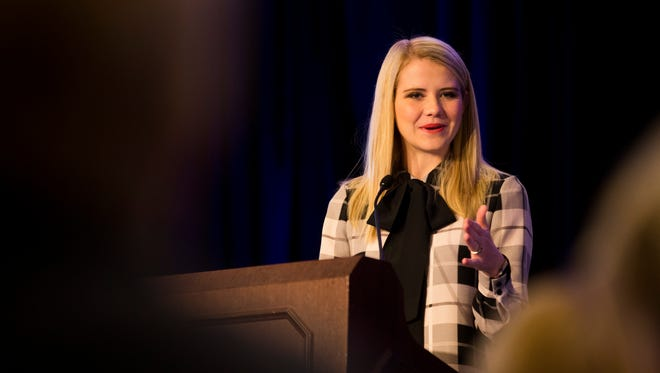 Advocate and speaker for women's rights Elizabeth Smart speaks during the 2016 Power of the Purse event held by the Women's Foundation of Collier County on Friday, Dec. 2, 2016, at the Ritz-Carlton Hotel in North Naples. Smart was abducted as a child and was held hostage for nine months away from her family. Through that traumatic experience she now travels the country speaking and encouraging women in all walks of life and has become an advocate for change promoting the National AMBER Alert, The Adam Walsh Child Protection & Safety Act and other safety legislation to help prevent abductions.
