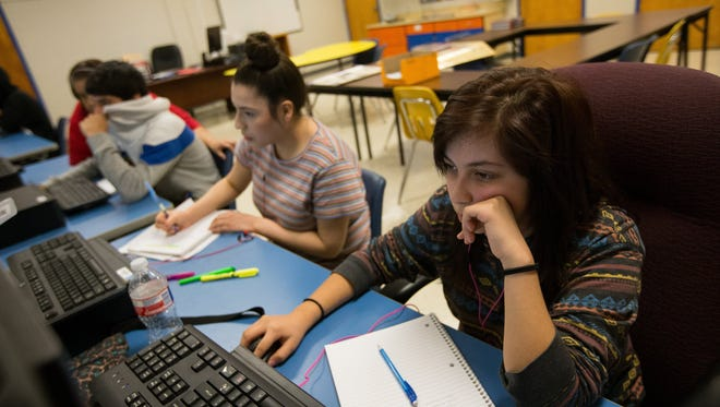 COURTNEY SACCO/CALLER-TIMESStudent Michelle Montalvo works on computers in a classroom at Robstown ISD's Salazar Crossroads Academy on Friday, Oct. 7, 2016.