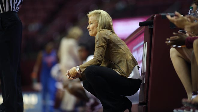FSU Head CoachSue Semrau watches her team from the sidelines during their game against Florida at the Tucker Center Thursday.