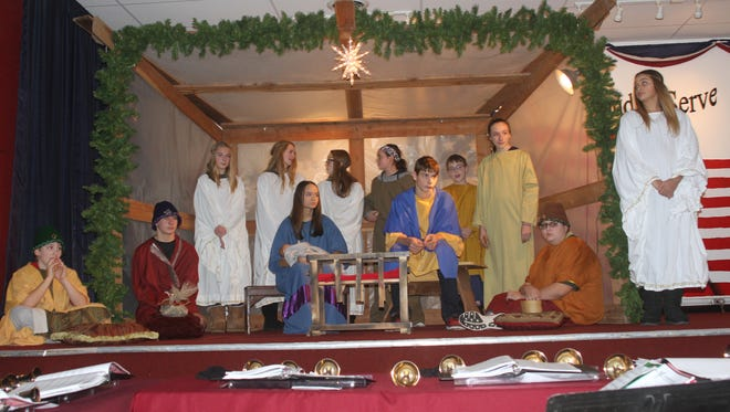 The closing ceremony at the Victor Old Fashioned Christmas -- shown here at the event Dec. 10, 2016 -- is a centerpiece occasion of the annual event. One of the major highlights involves area youths playing the parts of Mary, Joseph, the angels, shepherds and the Wise Men as an area pastor -- this case, the Rev. Michael Koeslar -- reads the account of Jesus' birth from Luke 2.