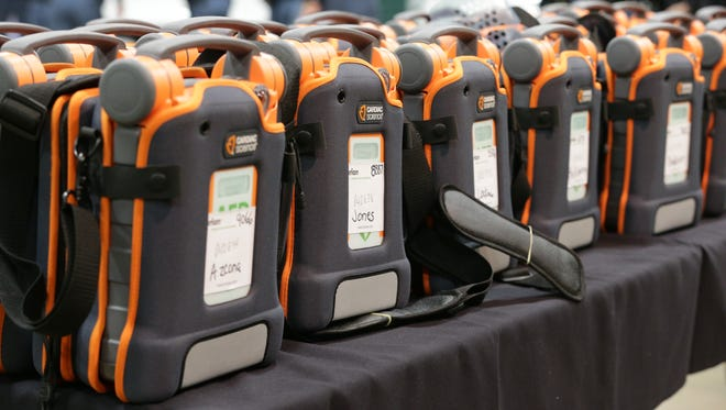 Automatic External Difibrillators (AED's), on display during a Bolt For The Heart Foundation press conference, Dec, 12, 2016. The foundation and Indiana State Police first announced the gift of 95 additional AED's to ISP equip responders.