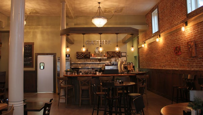 The bar area is seen at Gather in Silverton. The breakfast and lunch spot refurbished the interior to resemble the original space when it opened in the 1800s.